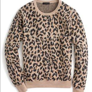 J Crew Merino Wool Leopard Sweater (Medium)